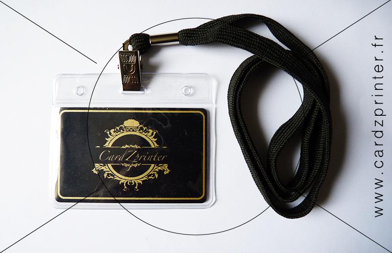 Porte Badge Professionnel Cordon Noir Tour De Cou à Lunité - Porte badge tour de cou