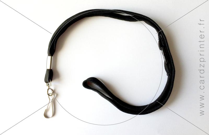 porte badge professionnel cordon noir tour de cou avec mousqueton. Black Bedroom Furniture Sets. Home Design Ideas