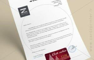 impression lettre personnalisée avec une carte cadeau à imprimer ou carte de fidélité