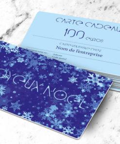 Carte cadeau plastique à imprimer flake bleue
