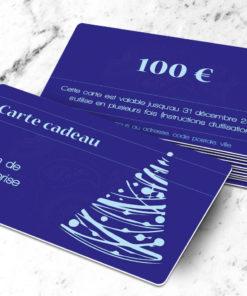 Carte cadeau plastique à imprimer licia abietes bleue