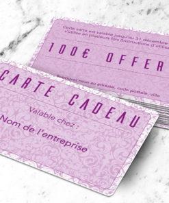 Carte cadeau plastique à imprimer petalis rose