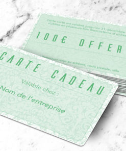 Carte cadeau plastique à imprimer petalis verte