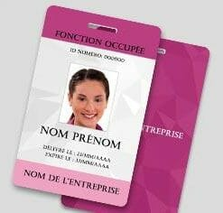 Badge professionnel nominatif - Perforation oblongue (orientation portrait)