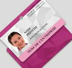 Badge professionnel nominatif - Perforation ronde (orientation paysage)