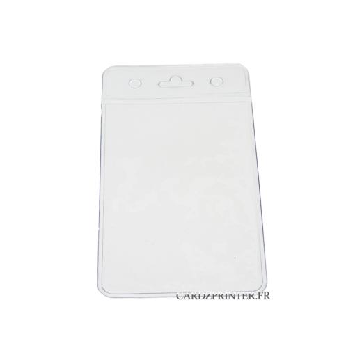 Super porte badge transparent, souple, orientation portrait compatible avec des cartes pvc 86x54mm