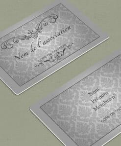 Réalisez aujourd'hui l'impression de votre carte d'adhérent association pvc personnalisée couleur grise