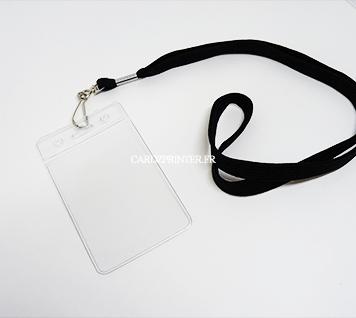 porte badge souple orientation portrait équipé d'un tour de cou mousqueton de couleur noir
