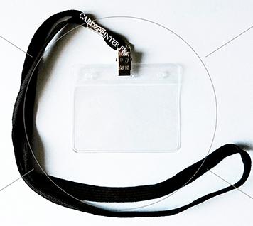 Pack 2 en 1 avec tour de cou pince croco et porte badge souple double perforation, ronde et européen
