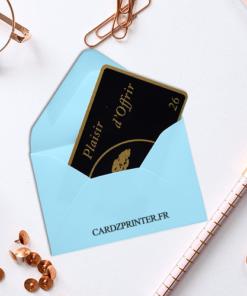 emballage enveloppe bleu parfait pour carte format carte de visite