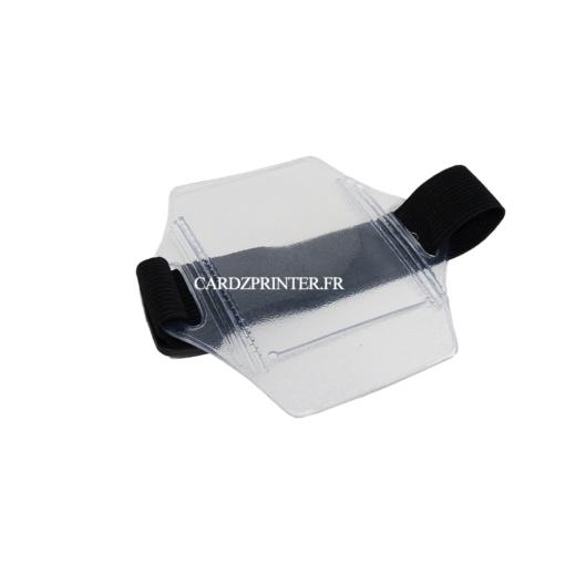 brassard porte badge transparent avec élastique noir