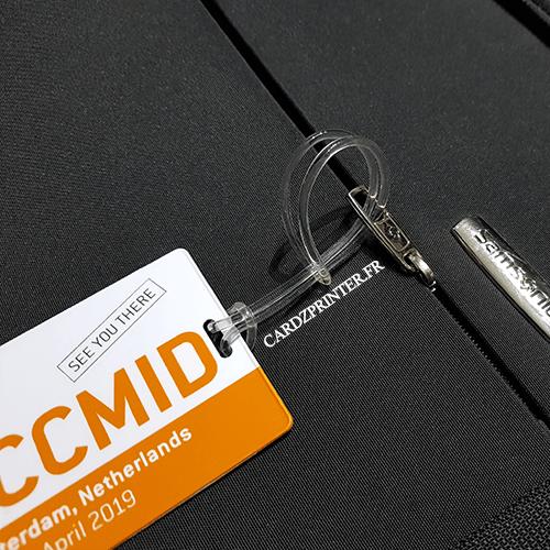 sangle plastique transparente accroche bagage pour badge, étiquette, carte plastique perforé