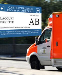 Carte d'urgence - Carte I.C.E (In case of emergency)