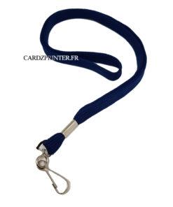 porte badge tour de cou de couleur bleu avec accroche mousqueton en métal