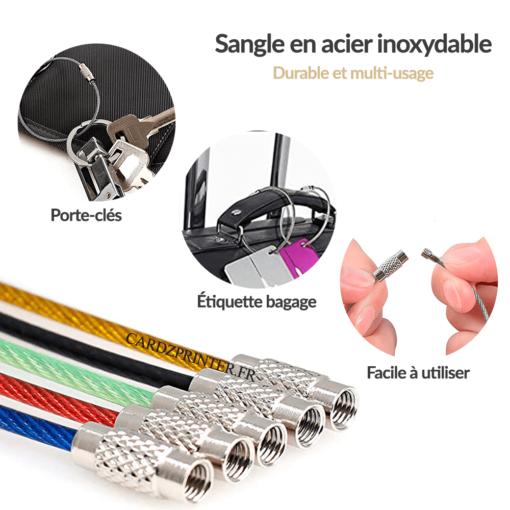 sangle bagage en acier inoxydable disponible en 5 coloris